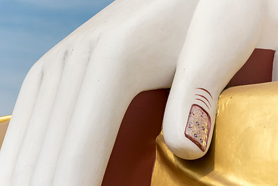 Close-up of hand of Kyaikpun Buddha statue, Bago, Burma (Myanmar)