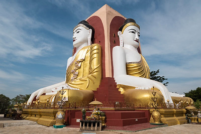 Four Seated Buddha shrine at Kyaikpun Pagoda in Bago, Burma (Myanmar)