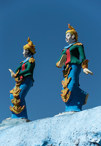 Colourful statues at Bayint Nyi (Bayin Gyi Gu or Begyinni) cave temple and hot springs, Mon State, Burma (Myanmar)