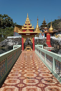 Footbridge at Bayint Nyi (Bayin Gyi Gu or Begyinni) cave temple and hot springs, Mon State, Burma (Myanmar)