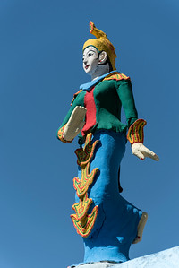 Colourful statue at Bayint Nyi (Bayin Gyi Gu or Begyinni) cave temple and hot springs, Mon State, Burma (Myanmar)