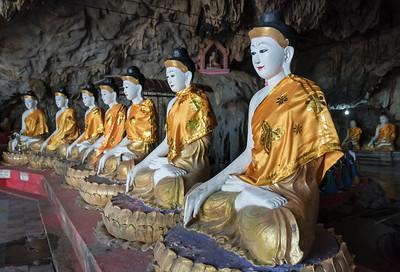 Buddha statues, Bayint Nyi (Bayin Gyi Gu or Begyinni) cave temple and hot springs, Mon State, Burma (Myanmar)