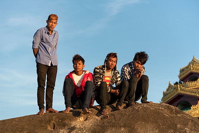Group of young Burmese men, Myanmar