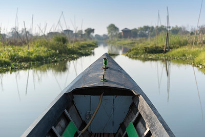 Fishing boat in floating gardens, Inle Lake, Burma (Myanmar)