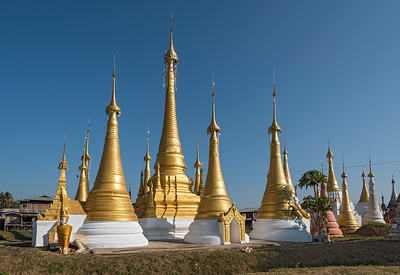 Stupas at Monastery in Ywama Village by Inle Lake, Burma (Myanmar)