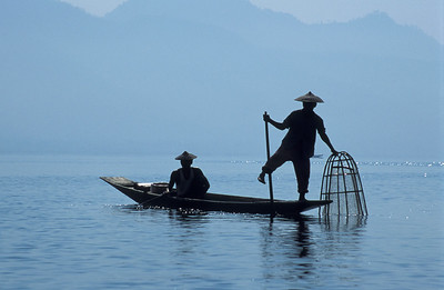 Two Intha Fishermen in Rowing Boat on Inle Lake, Burma (Myanmar)