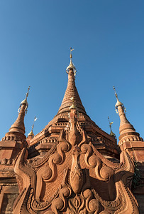 Low-angle view of restored stupa in Sankar near Inle Lake, Burma (Myanmar)