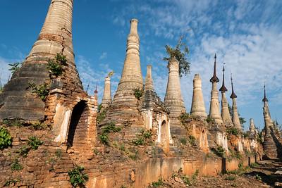 Shwe Inn Thein Pagodas, ruined Buddhist stupas in the village of Inthein (Indein) near Inle Lake, Burma (Myanmar)