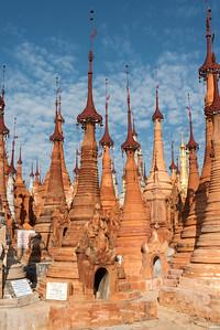 Stupas of Shwe Inn Thein Pagoda, Inthein (Indein) near Inle Lake, Burma (Myanmar)