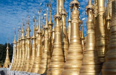 Golden stupas of Shwe Inn Thein Pagoda, Inthein (Indein), Inle Lake, Burma (Myanmar)