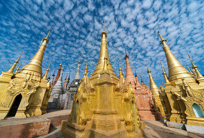 Golden stupas of Shwe Inn Thein Pagoda, Inthein (Indein), Shan State, Burma (Myanmar)