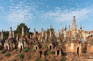 Shwe Inn Thein Paya, crumbling Buddhist stupas in the village of Inthein (Indein) near Inle Lake, Burma (Myanmar)