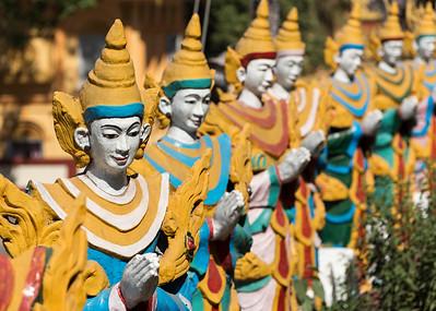 Nat deity statues at Kyaik Tan Lan (Kyaikthanlan) Pagoda in Mawlamyine (Mawlamyaing), Burma (Myanmar)