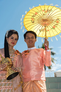 Portrait of Burmese newlyweds, Myanmar