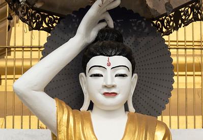 Deity statue, Uzina Pagoda (U Zina Paya) in Mawlamyine (Mawlamyaing), Mon State, Burma (Myanmar)