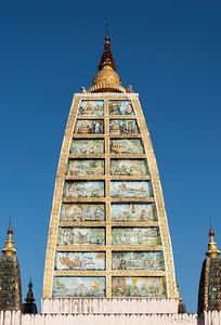 Replica of Mahabodhi Temple at Shwedagon Pagoda, Yangon (Rangoon), Myanmar (Burma)