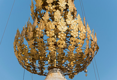 Close-up of umbrella at the top of stupa spire, Shwedagon Pagoda, Yangon (Rangoon), Myanmar (Burma)