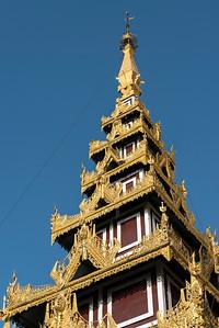 Ornate roof of prayer hall at Shwedagon Pagoda, Yangon (Rangoon), Myanmar (Burma)