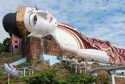 Win Sein Reclining Buddha Statue at Mudon near Mawlamyine, Mon State, Burma - Myanmar