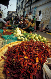 Chilli Peppers at Rangoon Vegetable Market, Burma (Myanmar).