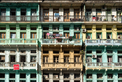 Colonial apartment buildings in downtown Yangon (Rangoon), Burma (Myanmar)