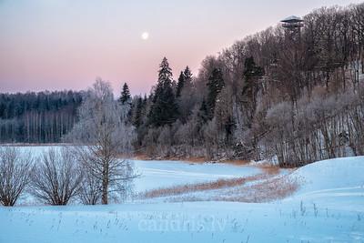 Kornetu skatu tornis ziemā