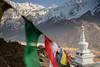 Stupa with prayer flags, Langtang Valley, Nepal