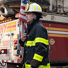 NEW YORK - April 13, 2021: for NEWS. FDNY Firemen fight a 10-75 apartment fire at 605 FDR Drive on the Lower East Side. Three people were injured and Tower Ladder 18 made a bucket rescue to evacuate a trapped person. The box was transmitted as Manhattan Box 272. (Credit Photo by: Taidgh Barron)