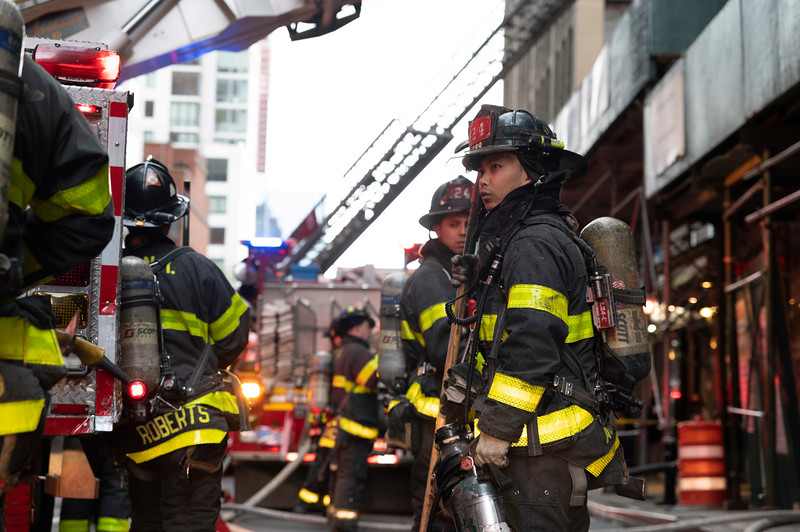 NEW YORK - April 23, 2021: for NEWS. FDNY Firefighters battle a fire in a vacant tenement that is slated for demolition at 335 West 39th Street The box was transmitted as All Hands M0761. (Credit Photo by: Taidgh Barron)