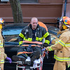 NEW YORK - October 18, 2019: for NEWS.  EMS treating a fireman who was injured while responding to a 2-alarm fire on W 131st Street in Harlem. (Photo by Taidgh Barron/NY POST)