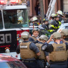 NEW YORK - October 18, 2019: for NEWS.  FDNY responding to a call of a man barricaded with a gun during a 2-alarm fire on W 131st Street in Harlem. (Photo by Taidgh Barron/NY POST)