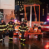 NEW YORK - October 28, 2020: for NEWS. FDNY Firemen respond to a 10-60 major collaspe with debris falling from the under-construction 111 West 57th Street mega-highrise after high winds blew a construction crane to knock off parts of the structure. (Credit photo by: Taidgh Barron)