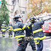 NEW YORK - December 5, 2020: for NEWS. FDNY firefighters continue to work on extinguishing a 6-alarm fire in the East Village that spread from a vacant fire-damaged building on East 7th Street into the Middle Collegiate Church early Saturday morning. (Credit photo by: Taidgh Barron)