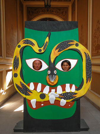 Posing with artwork in the Mask Museum of San Luis Potosi, Mexico.