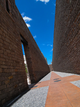 Walls of the former San Luis Potosi prison in Mexico.