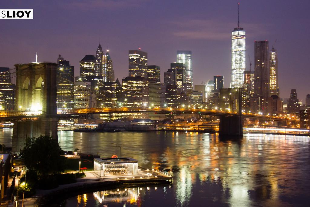 New York City nighttime Skyline from the Manhattan Bridge.