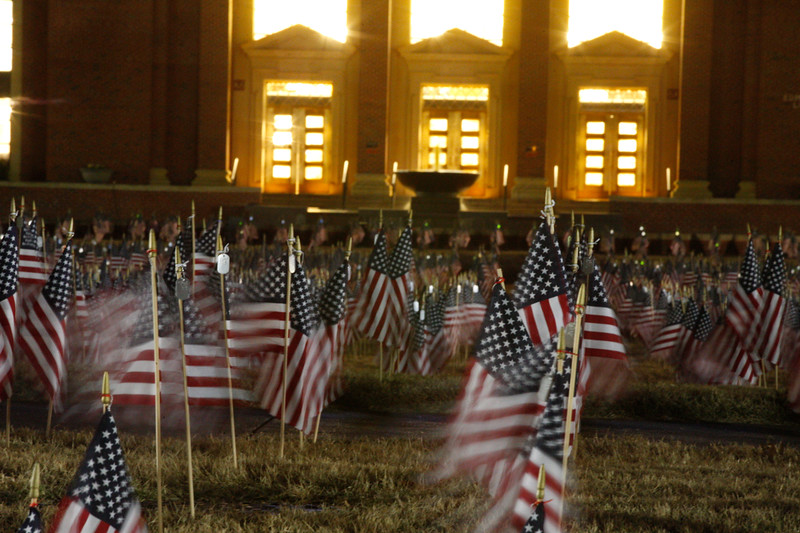 OSU Flag memorial for the war on terror at Edmond Low Library in Stillwater, Oklahoma on Nov. 10, 2017.