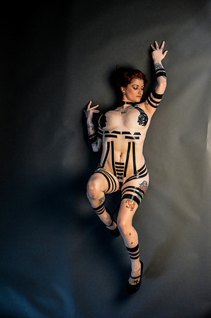 Katie Set 2 electrical tape fetish implied nude