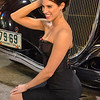 Pinup Model Rylin with Car : Pinup model Rylin with a vintage car sitting on the ground.