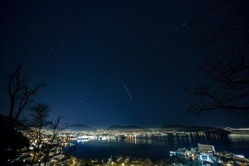 Falling star over Bergen