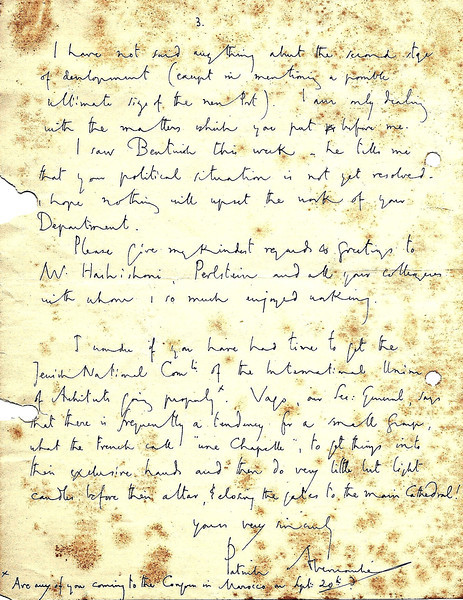 Letter from Sir Patrick Abercrombie