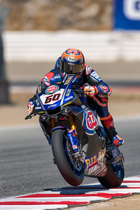 Michael van der Mark on the #60 Yamaha R1 exits Turn 3