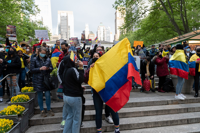 NEW YORK - May 8, 2021: for NEWS. Demonstrators in support of protestors in Colombia facing police brutality, rally in Bryant Park after shooting in Times Square where three bystanders, including a 4 year-old girl, were shot required moving the demonstration. (Credit Photo by: Taidgh Barron)