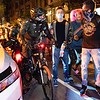 """NEW YORK - November 6, 2020: for NEWS. NYPD Strategic Response Group (SRG) bike officers in riot """"turtle"""" gear police protesters in downtown Manhattan as they celebrate a potential Joe Biden win in the 2020 Presidential Election. (Credit photo by: Taidgh Barron)"""