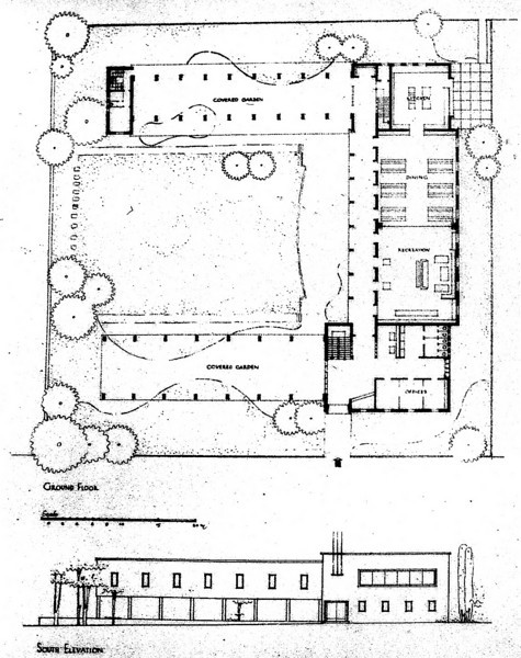 Ground Floor Plan and South Elevation