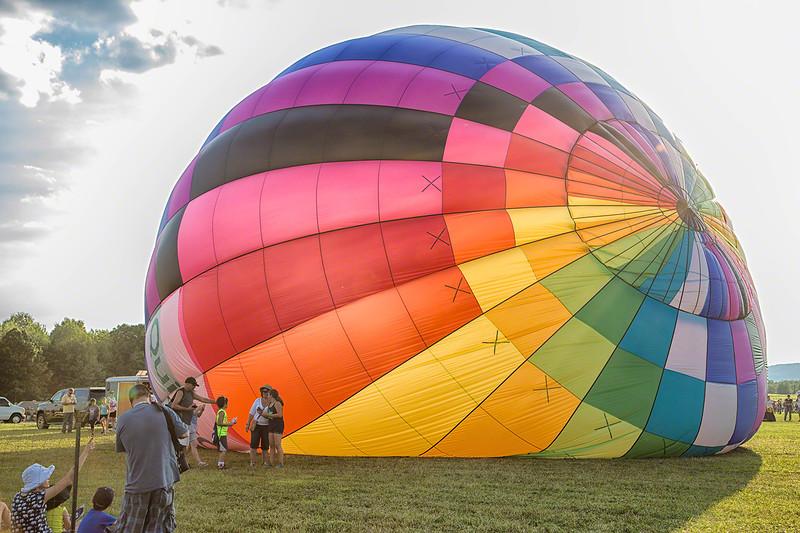 Inflating hot air balloon
