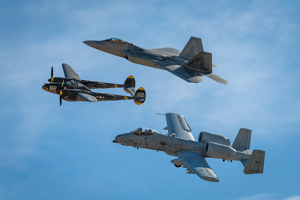 Heritage flight - P-38 Lightning A-10 Thunderbolt F-22 Raptor