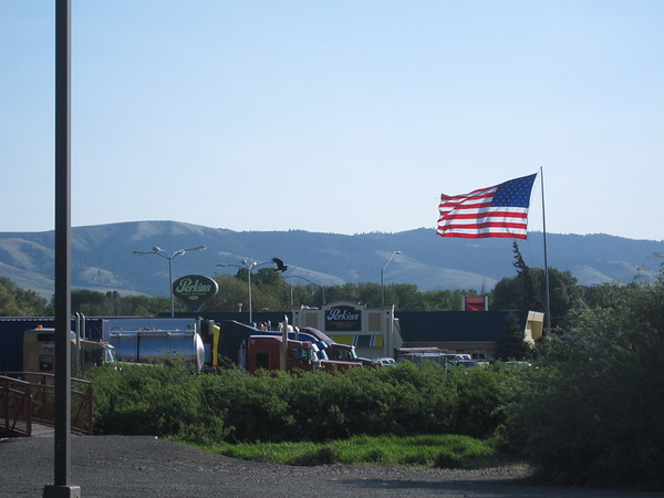 Big American flag near the Diary Queen.