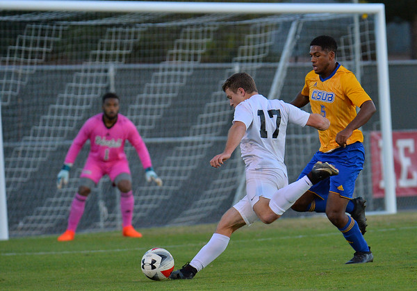 LAS VEGAS, NV - NOVEMBER 8:  First round match of the 2017 WAC Men's Soccer Tournament between the 3-seed Seattle Redhawks and the 6-seed CSU Bakersfield Roadrunners at Peter Johann Memorial Field on November 8, 2017 in Las Vegas, Nevada.  (Photo by Sam Wasson/WAC)