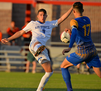 LAS VEGAS, NV - NOVEMBER 10:  Semifinal match of the 2017 WAC Men's Soccer Tournament between the 1-seed Air Force Falcons and the 4-seed San Jose State Spartans at Peter Johann Memorial Field on November 10, 2017 in Las Vegas, Nevada.  (Photo by Sam Wasson/WAC)